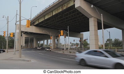 Traffic and elevated highway - Traffic on Lakeshore Blvd...