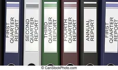 Multiple office folders with Quarter and annual reports text...