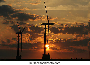 Windturbinepark Eemshaven - Eemshaven,Groningen, july 2016:...