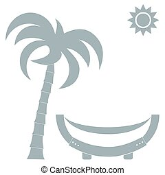 Vector illustration of a hammock under a palm tree and sun....
