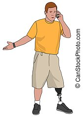 Amputee on Cell Phone - Left leg amputee is talking on cell...