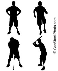 Amputee Silhouettes 1 - Left leg amputee in four different...