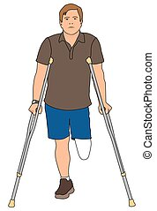Amputee Using Crutches - Left leg amputee is using crutches...