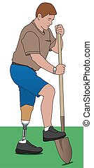 Amputee Using Shovel - Left leg amputee is digging with...