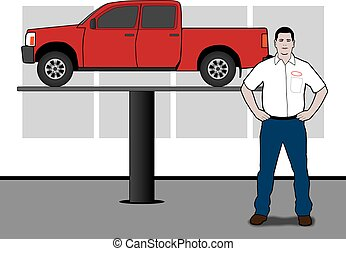 Auto Technician - Mechanic is standing in front of a pickup...