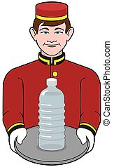 Bellhop is presenting a bottle of water on a tray