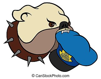 Bulldog - Dog is carrying mailman's hat in his mouth