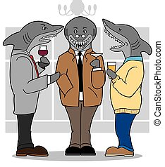 Business Sharks - Three business sharks are socializing