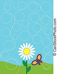 Butterfly Trail - Butterfly is flying all around a daisy