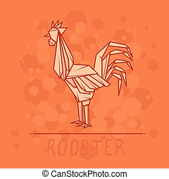 Vector illustration paper origami of rooster. - Vector...
