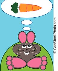 Carrot Daydream - Cartoon rabbit is lying on a hillside...