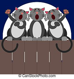 Cat Fence Trio - Three cats are harmonizing at night on a...