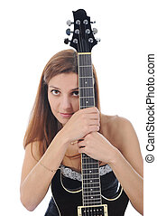 energetic girl with a black guitar in his hand. - beautiful...