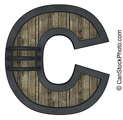 wooden uppercase letter c with metal frame on white background - 3d illustration