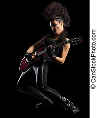 Hard rock singer young woman isolated