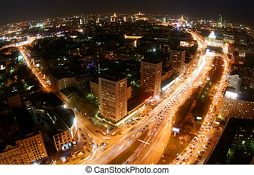 Night in Moscow city - Fish eye view from skyscraper in...