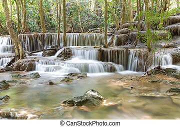 Deep forest waterfall in national park of Thailand