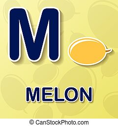 Melon alphabet background - Melon symbol with letter M and...