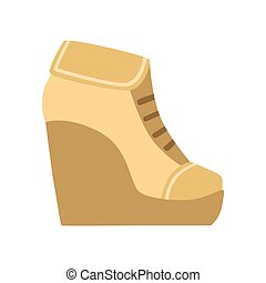 Female Brown Wedge Bootie, Isolated Footwear Flat Icon,...