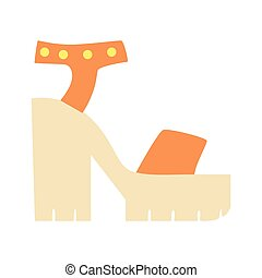 Chunky Heel Summer Shoes, Isolated Footwear Flat Icon, Shoes...