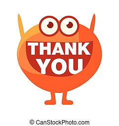 Orange Blob Saying Thank You, Cute Emoji Character With Word In The Mouth Instead Of Teeth, Emoticon Message