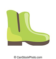 Green Rubber Boot, Isolated Footwear Flat Icon, Shoes Store...