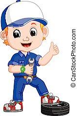 Cartoon serviceman - illustration of Cartoon serviceman