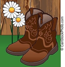 Cowgirl Boots and Flowers - Pair of cowgirl boots resting on...
