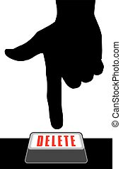 Delete Button - Hand in silhouette is about to hit the...