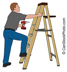 Do It Yourselfer - Man is using a step ladder to do his own...