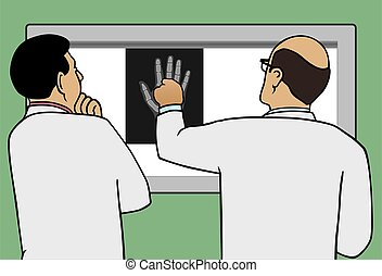 Doctors Viewing X-Ray - Two doctors are examining an X-ray...