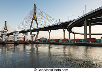 Bangkok Suspension bridge over watergate with blue sky...