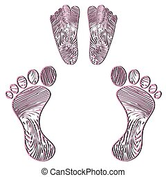 Embossed human footprint