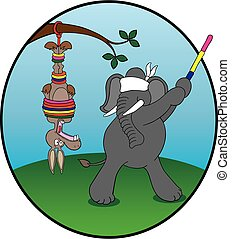 Donkey pinata - Republican elephant is trying to hit the...