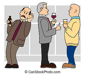 Eavesdropper - Man is leaning toward two others in order to...