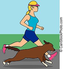 Female Jogger With Dog - Woman is out for a run with her dog