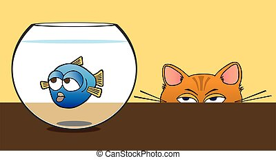 Fish Bowl - Fish in bowl is being stalked by cat
