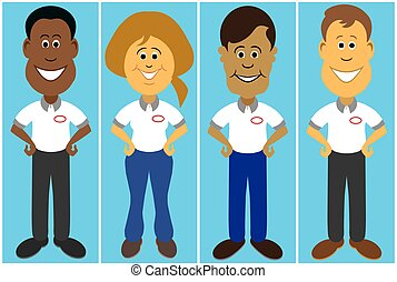 Flat Vector Service People - Diverse group of smiling...