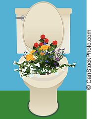 Flowers in Toilet - Toilet is being used for a flower pot