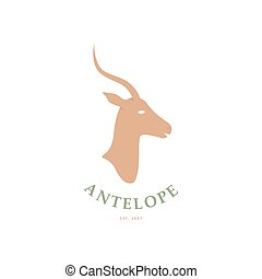 ?????? - Stylized Antelope head logo. Vector illustration.