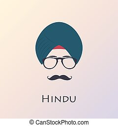 Indian man with black mustache and glasses. In dark blue...