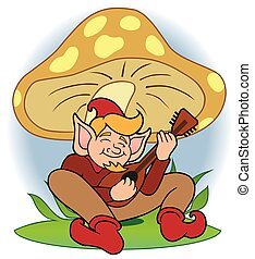 Gnome Musician - Happy cartoon gnome is strumming his...