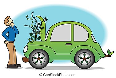 Green Car Breakdown - Man is looking at weeds growing out of...