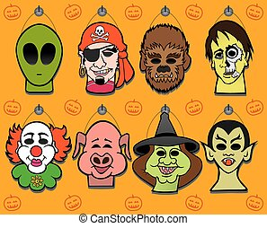 Halloween Mask Display - Eight different masks hanging on a...
