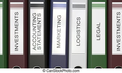 Multiple office folders with Corporate departments text...