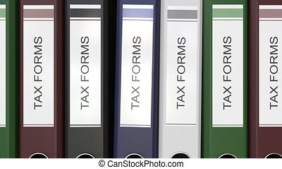 Multiple office folders with Tax forms text labels 3D...