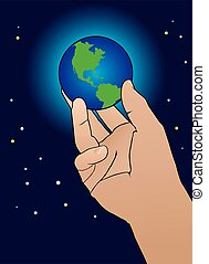 Hand holding world - Giant hand is holding on to the earth