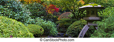 Shrine in Japanese garden - Autumn, Japanese Garden,...