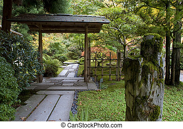 Gate, stone, Japanese Garden, Portland, Oregon, autumn