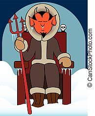 Hell Freezes Over - Ice covered devil is sitting on his...